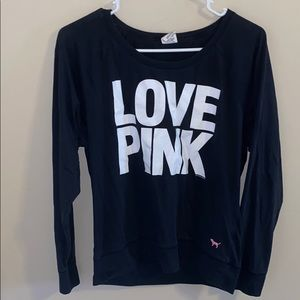 Love Pink black and white crew neck sweater